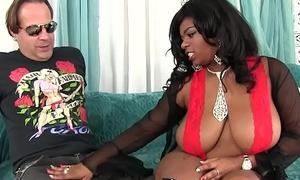 Big boobed black girl Ms Mirage loves chunky white cock