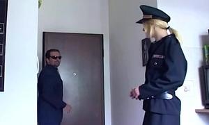 Bazaar in uniform fucking in black stockings