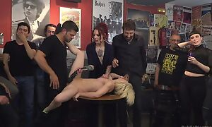 Submissive Spanish slut gets roughly fucked while crowd is watching